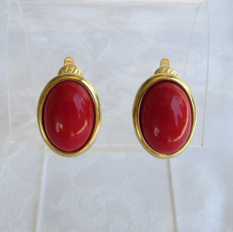 Trifari Fire Engine Red Cabochon Comfort Clip On Earrings