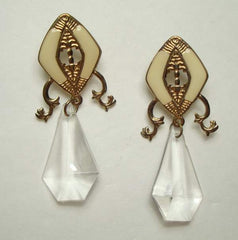 Egyptian Revival Beige Enamel Dangle Earrings Plastic Crystal Drop Vintage Jewelry