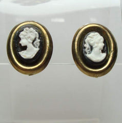 Black White Cameo Clip On Earrings Vintage Jewelry