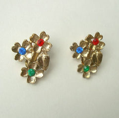 Floral Clip On Earrings Red Blue Green Rhinestones Vintage Jewelry