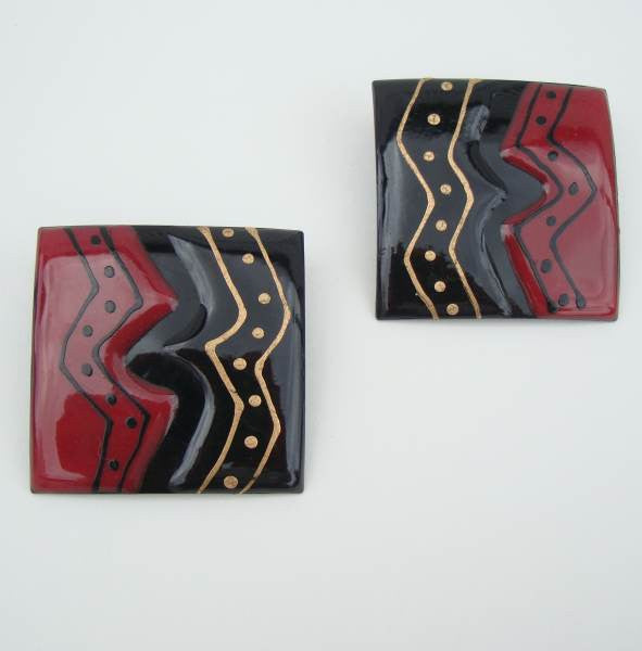 Abstract Enameled Square Pierced Earrings Black Maroon Goldtone Jewelry