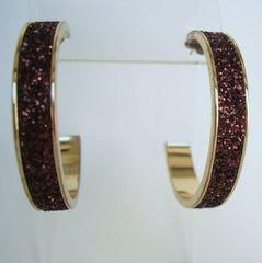 Copper Glitter Large Hoop Earrings Unusual Vintage Jewelry