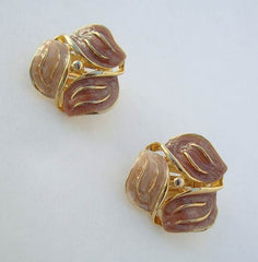 Three Petal Poured Peach Enamel Clip On Earrings Vintage Jewelry