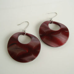 Curved Red Marbled Geometric Hoop Earrings Unusual Plastic Jewelry