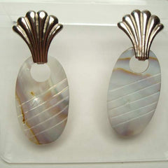 Retro Large MOP Dangle Earrings Fans Shells Vintage Jewelry