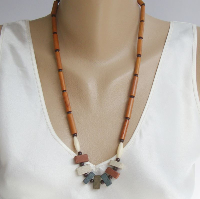 Faux Wood Ceramic Bead Necklace Brown White Vintage Jewelry