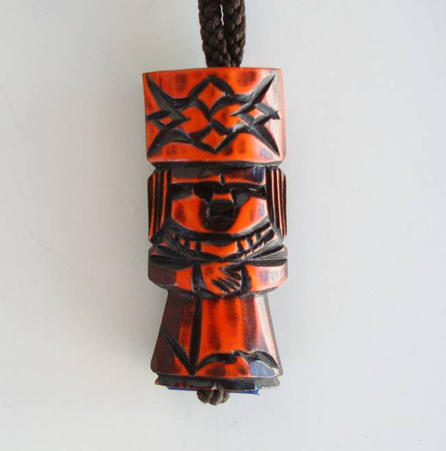 Egyptian Pharaoh Pendant Necklace Carved Wood Totem Vintage Jewelry
