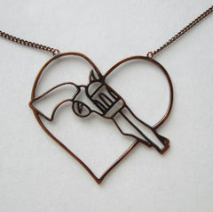 Openwork Heart w Pistol Pendant Necklace Copper Plated Jewelry