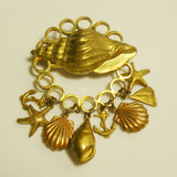 Sea Life Drop Brooch Goldtone Copper Shells Starfish Anchor Vintage Figural Jewelry