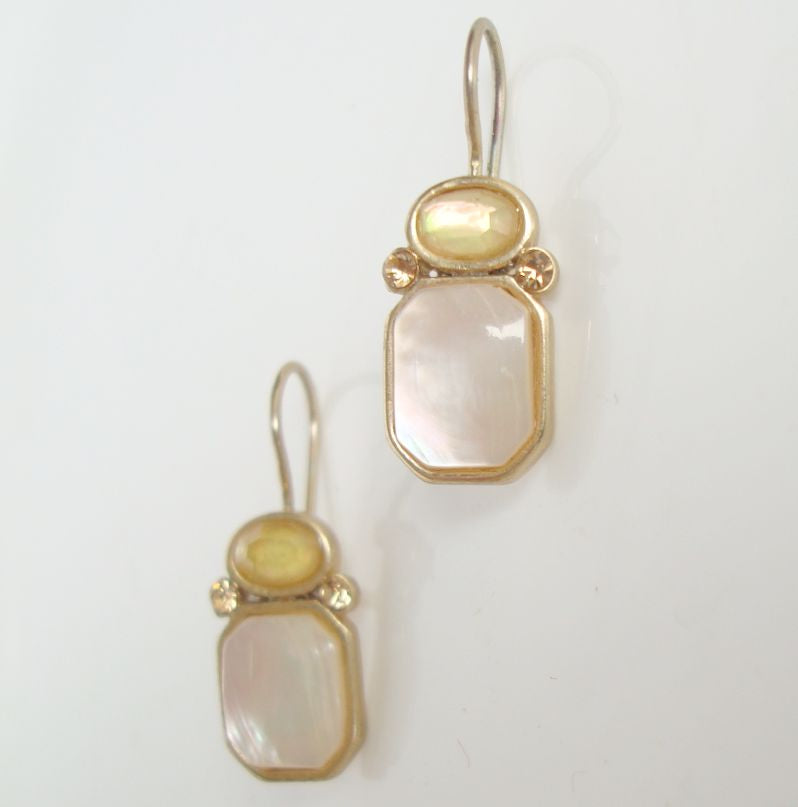 Liz Claiborne MOP Faux Opal Earrings Contemporary Jewelry