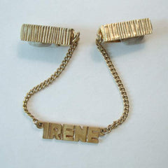 Irene Monogrammed Sweater or Cape Guard Goldtone Vintage Jewelry