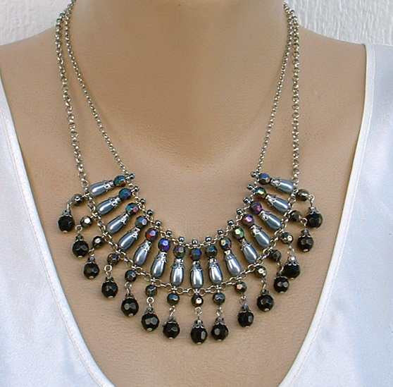 Robert Rose AB Bib Fringe Necklace Gray Purple Blue Green Jewelry