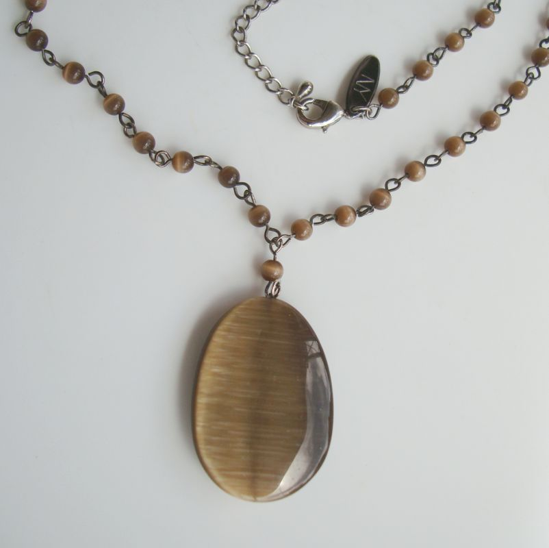 NY Signed Glass Tigers Eye Pendant Necklace Brown Jewelry