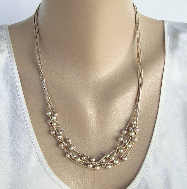 Fany 5-Strand Necklace Silvertone Beads Sterling Silver Jewelry