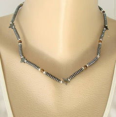Hematite Tigers Eye Star Bead Necklace 18 inches