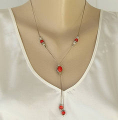 Red Glass Tigers Eye Lavalier Necklace Elegant Jewelry