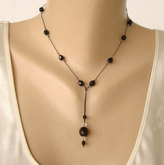 Delicate Black Chain Necklace w Drop Faceted Beads Vintage Jewelry