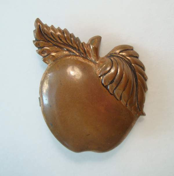 Copper Apple Pin Embossed Leaves Vintage Floral Jewelry