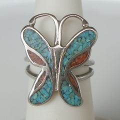 Butterfly Ring Size 5 Silver Plated Turquoise Coral Chips Vintage Jewelry