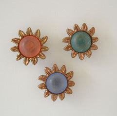Three Large Colorful Lucite Button Covers Pink Blue Green Sun Shirt Decor