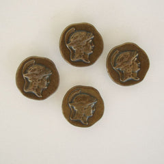 Four Vintage Roman or Greek Warrior Antiqued Brass Button Covers Vintage