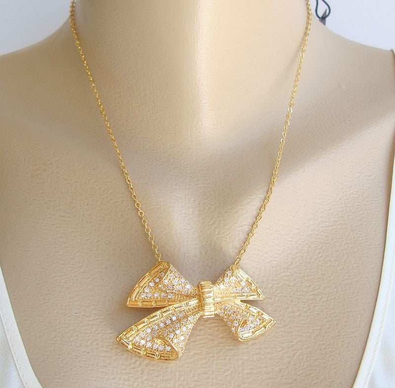 nOir Brilliant Crystal Gold-Plated Bow Necklace Elegant Holiday Designer Jewelry