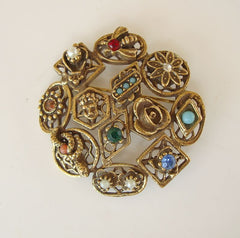 Goldette Antiqued Brass Pin Brooch Rhinestones Pearls Turquoise Vintage Jewelry