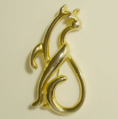 Large Openwork Cat Brooch Similar to Baby Phat Logo Figural Jewelry
