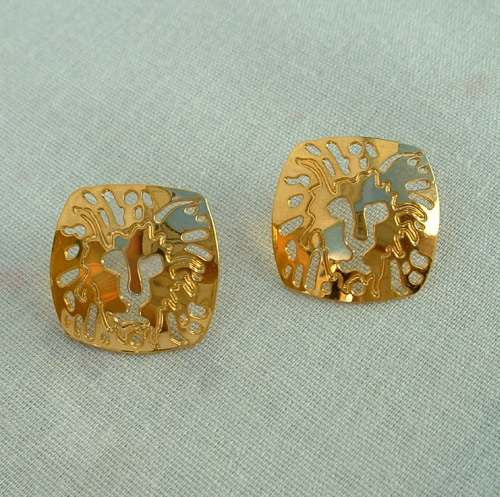 Klein Anne Lion Logo Earrings Openwork Post Style Jewelry
