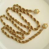 CELEBRITY NY Faux Pearl Heavy Lariat Chain Necklace Vintage Jewelry