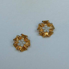 Klein Anne Petite Pearl Earrings Post Style Floral Designer Jewelry