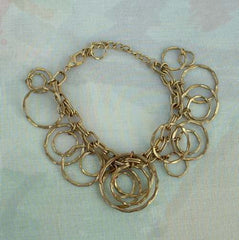 Graduated Nested Hammered Hoops Bracelet or Anklet Vintage Jewelry