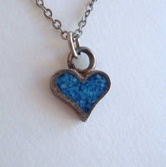 Tiny Turquoise Heart Pendant Necklace 18 Inch Chain Vintage Sweetheart Jewelry