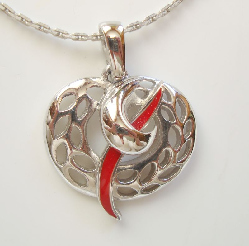 Givenchy 1979 Retro Abstract Pendant Necklace Red Enamel Vintage Jewelry