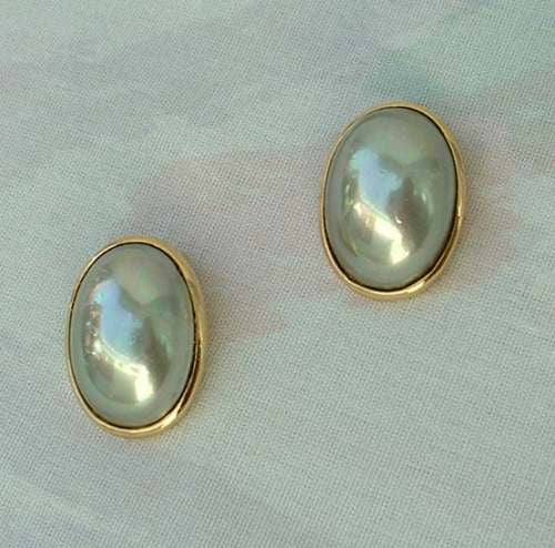 Christian Dior 1950s Blue Gray Dome Clip On Earrings AS IS Vintage Jewelry