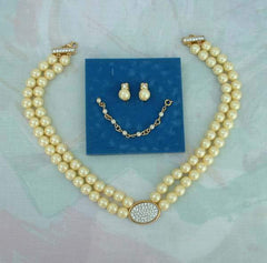 AVON Pearl Rhinestones Double Strand Necklace SET 2005 Pearlesque Original Box