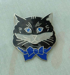 Meow Signed Cat Pin Black Blue Gray Enamel Cute Animal Jewelry