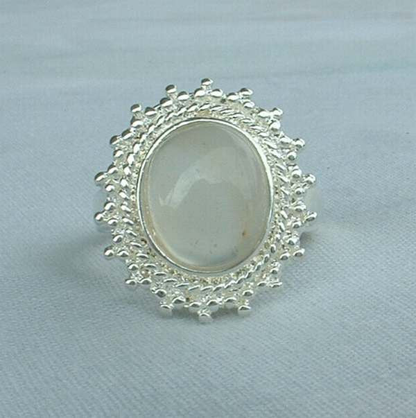 Glass Moonstone Ring Rhodium Plated Size 9 Maybe Givre Glass