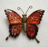 Butterfly Pin Red Glitter Wings Cute Figural Jewelry