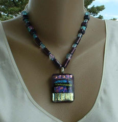Dichroic Fused Glass Pendant Necklace Purple Blue Gold Iridescent Colors Jewelry