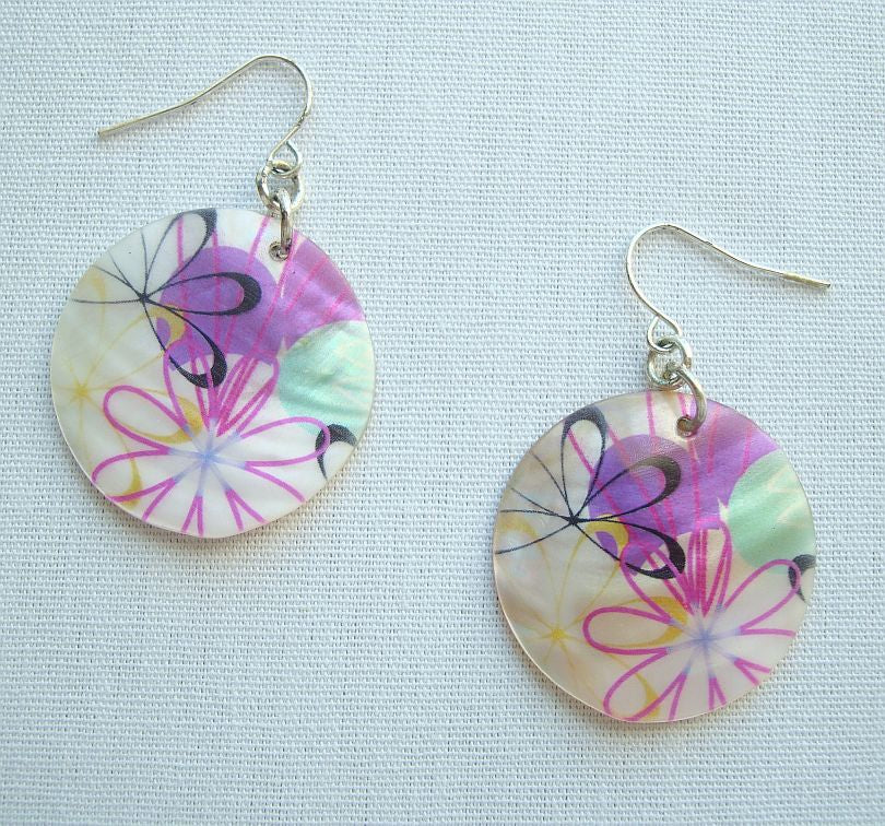 MOP Painted Earrings Purple Green White Suffrage Jewelry
