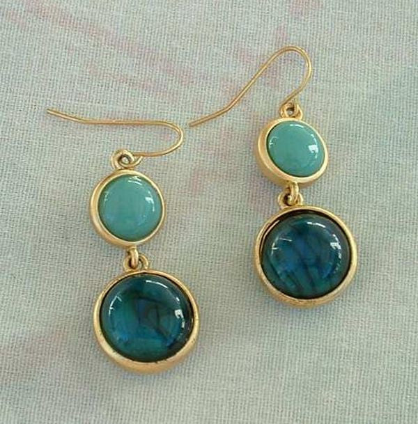 Emerald Green Teal Dichroic Glass Dangle Earrings Bezel Set Jewelry