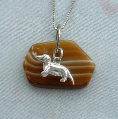 Striped Agate Pendant Necklace Dachshund Charm Sterling Venetian Box Chain