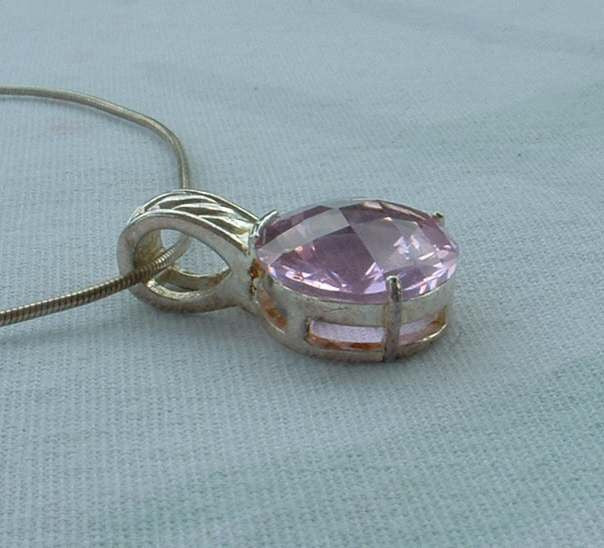 Pink Oval Double Rose Cut Pendant Necklace Sterling Silver Designer Jewelry