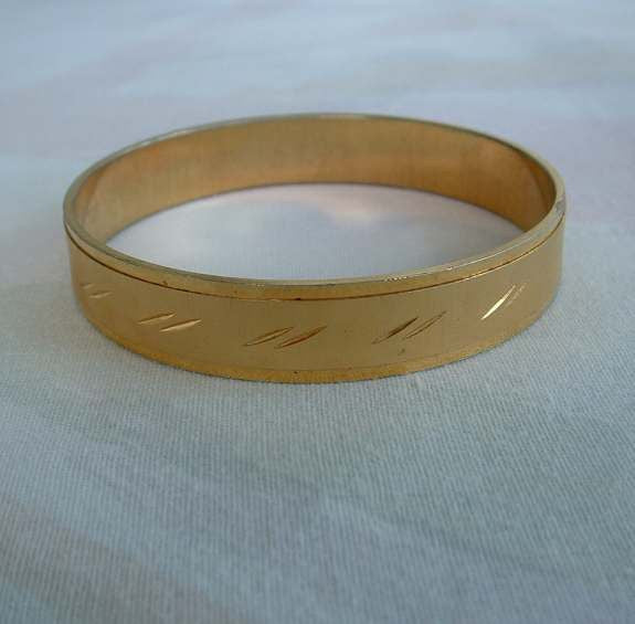 Embossed Goldtone Bangle Bracelet Etched Design Vintage Jewelry
