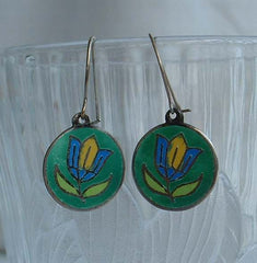 Lotus Flower Sterling Silver Enamel Earrings Teal Green Blue Wires Vintage Jewelry