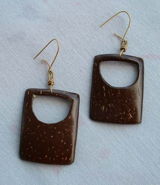 Openwork Coconut Dangle Earrings Cut Out Accents Wires