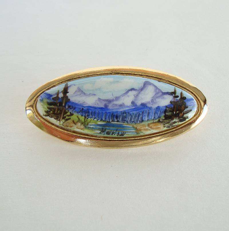 Signed Hand Painted Mountain Scene Brooch Original Box Scenic Jewelry