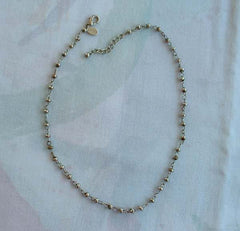 Express Silvertone Slider Oblong Beads Link Chain Necklace