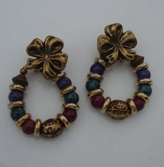 Colorful Bead Hoop Leverback Earrings Convertible Bow Top Holiday Vintage Jewelry